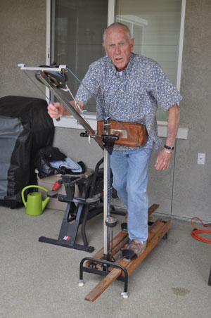 Lloyd Miller of Paso Robles works out on one of the original Jane Fonda's Healthriders, a piece of equipment that his wife, Muriel, said she ordered for herself decades ago before Lloyd took it over! Photo by Meagan Friberg.