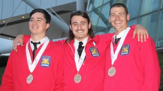 Cuesta College's Welding Fabrication Team stands with their gold medals; (left to right) Patrick Hickey, Tyler Grossi and Ryan May.