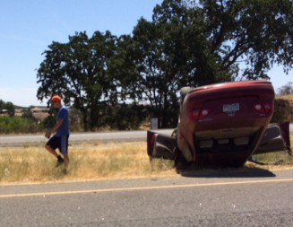 Vehicle rolls over on Highway 101