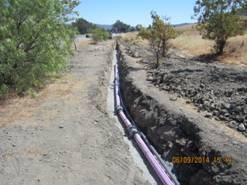 Installation of a recycled-water pipeline by Caltrans in San Luis Obispo.