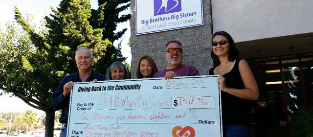 Pictured from left are Les & Muna Cristal of Templeton,  Mark McConnell and Liz Lee Marziello of Heart to Heart Real Estate present a check to Anna Boyd-Bucy of Big Brothers Big Sisters.