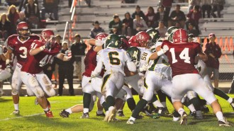 The Paso Robles Bearcats hosted the first round of the CIF Northern Division, Southern Section football playoffs on Friday night and handed the visiting Royal Highlanders a crushing 42-14 defeat. Photo by Meagan Friberg