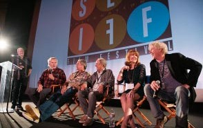 A photo from the Big Wednesday reunion: Greg MacGillivray, Gary Busey, Rick Dano, Denny Aaberg, Lee Purcell and William Katt (Darrell Fetty not in photo.) Courtesy of SLOIFF.