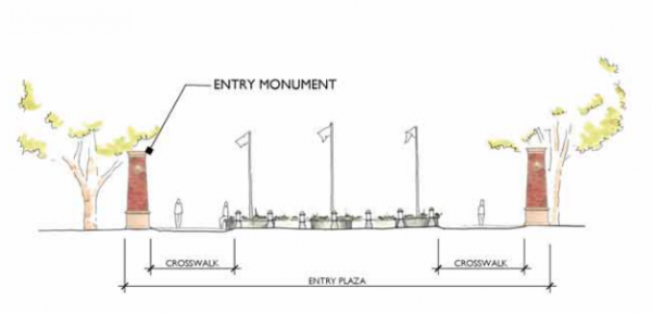 The plans for the entry plaza include two monuments that will reflect the character and style of the park.