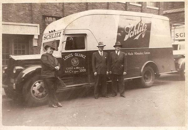 Louis Glunz II with Schlitz Truck circa the 1930's.
