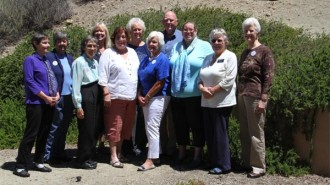 From left to right: Vallerie Steenson, Carrie Pardo, Vera Wallen, Sharon Kimball, Patricia Dale, Marguerite Bader, Mardi Geredes, Elton (Bud) Hankins, Nancy Welts, Jean Chinnici, Mary Beth Armstrong. Courtesy photo.