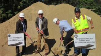 City Council members celebrate the groundbreaking. From left, Fred Strong, Mayor Steve Martin, Steve Gregory, John Hamon.