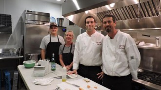 AJ Teunissen, Shelly Miguel, Cheyne Jackson and Jeff Jackson of The Range Restruatunt, pictured here in the new on-site kitchen at Ancient Peaks.