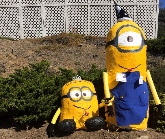 Minions greet passersby on a Cambria street corner. Photo by Meagan Friberg