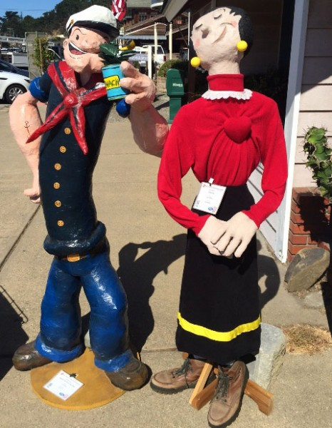 Popeye the Scarecrow Man, created by Carol Paulson, and Olive Oyl, created and sponsored by Kathy Dowding and sponsored by Home Arts. Photo by Meagan Friberg