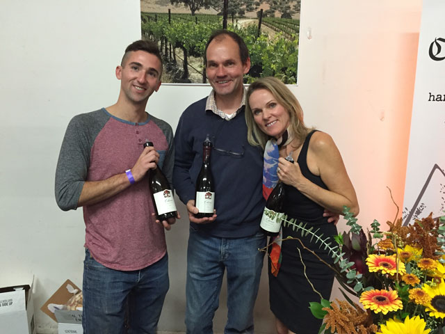 Patrick Doyle, from left, David and Johana Platt share their Chene wines from the Edna Valley.