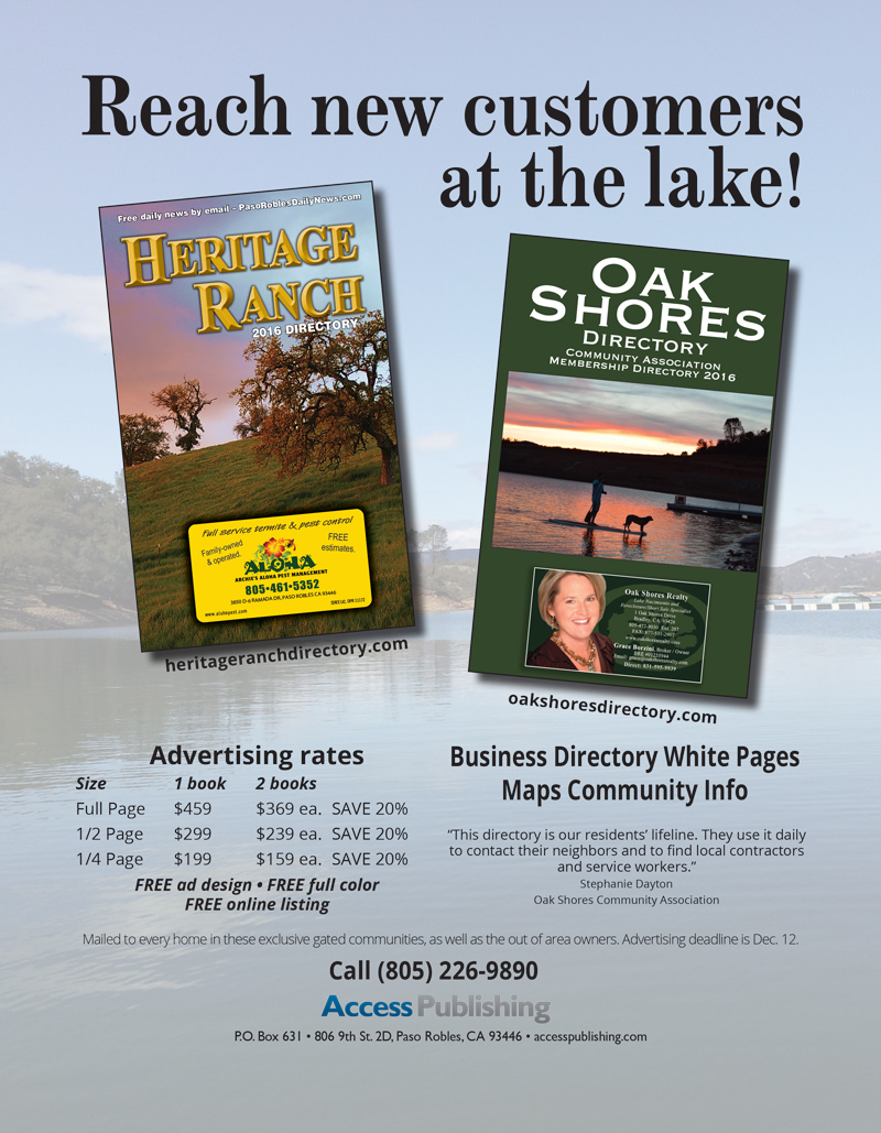 Advertise in Heritage Ranch Directory and Oak Shores Directory