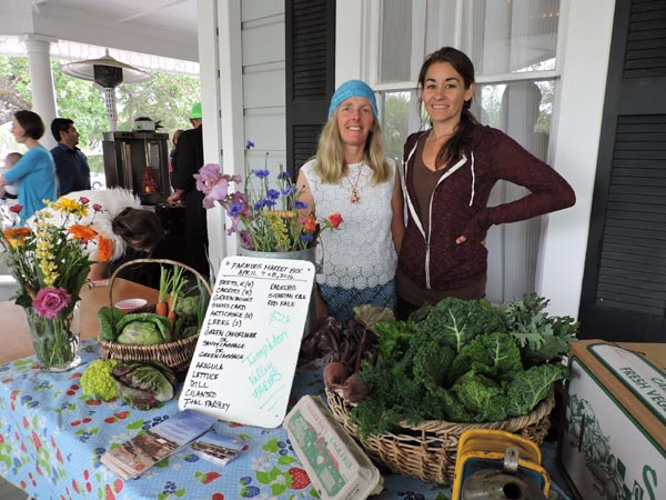 Templeton Valley Farms Owner Trina Baumsteiger and Stephanie Rynning rock out to the 70s and organic produce.