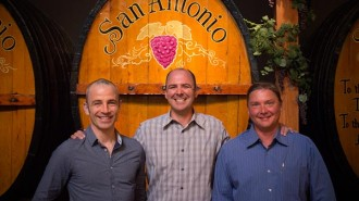 Left to right: Current winemakers Arnaud Debons, Anthony Riboli and Ben Mayo.