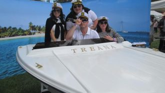 Treana winery's nautical crew hamming it on the 'faux' boat' as part of the popular photo-op booth.