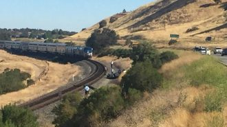 Photo of stopped Amtrak train by Meagan Friberg.