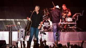Blake Shelton performed to a full house at the fair.