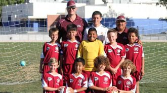 Players and Coaches shown in order from left to right. Front row:  Carson Schoenbeck, Kiki Lara, Adam Pfarr, Nic Woodard. Middle Row:  Matt Graebner, Izayah Campoverde, Jayden Ruiz, Jake Simpson, Deon Bridewell. Back Row:  Coaches Paul Graebner, Rudy Jaimes, and Tony Ruiz.