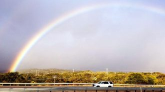 A rainbow links Paso Robles and Atascadero. Photo by Jordan Elgrably.