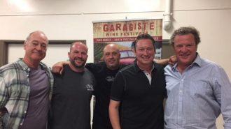 """Illegal Blends!  Garagiste Winemakers Break Old World Wine Rules.""  Left to right:  Doug Minnick, Jeffrey Streakas, Steve Lemley, Erick Allen and moderator Stu McLennan."