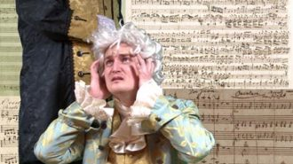 Salieri, played by John Laird, destroys Mozart, played by Ayrton Parham, leaving the musical genius destitute and on the verge of madness in Wine Country Theatre's production of Amadeus.