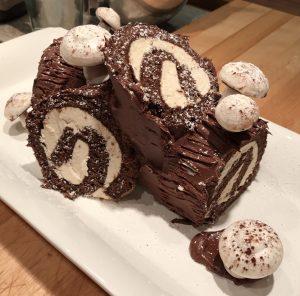 Traditional Bûche de Nöel log-shaped Christmas cake
