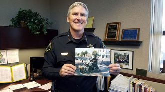 Paso Robles Police Chief Robert Burton and his younger motorcycle persona.
