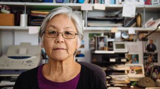 Professor emeritus Satsuki Ina in her home office in Sacramento.