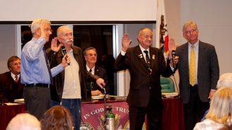Dennis Fansler, Michael Compton, Fred Strong and Steve Gregory get sworn in (photos Jordan Elgrably).
