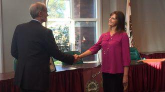 Mary Sponhaltz and Paso Robles City Manager Tom Frutchey.
