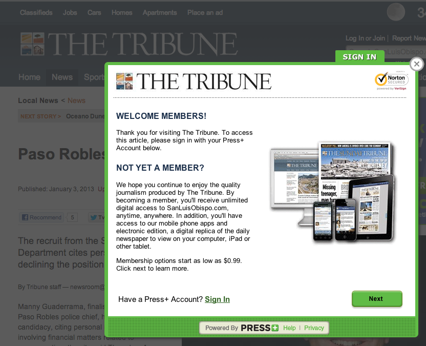San Luis Obispo Tribune begins charging for news