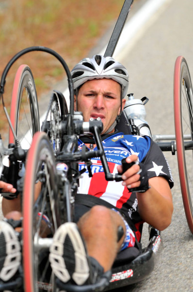 A young wounded soldier who was paralyzed from the waste down and rode the entire ride on a hand crank bike that was made for him by Ride 2 Recover.