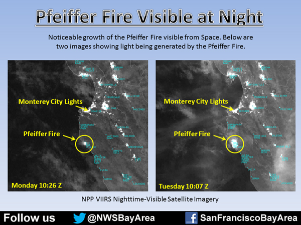 Big Sur Fire from space at night