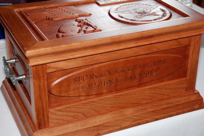 The memory box donated by the Paso Robles Rotary Club to the family of a fallen soldier.