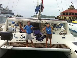 The Haywards moved to the Caribbean to become captain and first mate of a 50-foot catamaran.