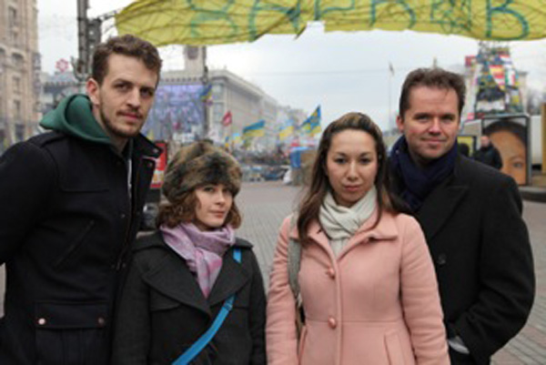 The group of dancers visiting Kiev during the upheaval: From left, Ben White, Lainey Silver (from Paso), Christina Dallons Isaksen, and Jonathan Lindsey.