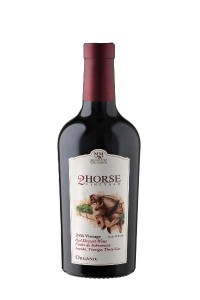 The award-winning 2 Horse Vineyard port-style organic dessert wine, crafted from Estate Portuguese grapes, is certified by the USDA and CCOF.