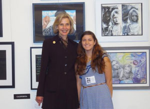 2013 Congressional Art Competition Winner Christa Weston (Ernest Righetti High School) and Rep. Lois Capps with Christa's winning piece.