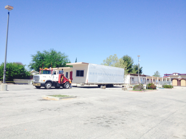 Modular Classroom Relocation ~ Portable classrooms moving off high school paso robles