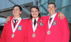 From the 2014 competition: Cuesta College's Welding Fabrication Team stands with their gold medals; (left to right) Patrick Hickey, Tyler Grossi and Ryan May.