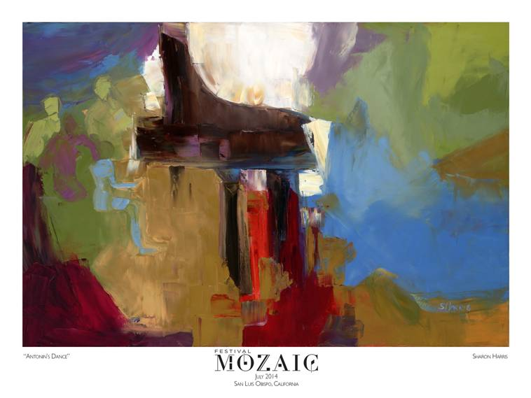 In 2013, Festival Mozaic resurrected the long-standing tradition of hiring a local artist to produce a commemorative poster for the Summer Festival. For 2014, the selected work, Antonin's Dance by Arroyo Grande artist Sharon Harris, is available for purchase; call (805)781-3009 for availability.