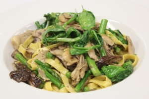 New menu items include the Wild Mushroom Tagliatelle with pea vines, truffle butter, and parmigiano-Reggiano.