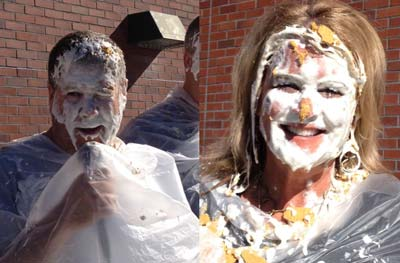 Flamson Principal Gene Miller and Teacher Tammi Barker wearing fresh pie on their faces.