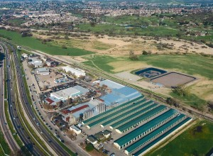 Aerial photo of the facilities, with the new ponds located behind the brewery. Photo courtesy of Alison and Matt Brynildson.