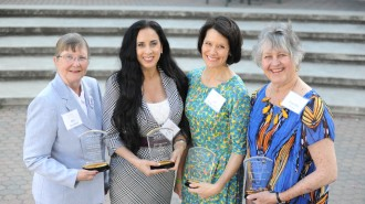 """The four recipients of the 2015 Women of Distinction awards, left to right: Elizabeth """"Biz"""" Steinberg, Lisa Ray, Jill Bolster-White and Grenda Ernst. The women were recognized on Thursday, March 19, during a ceremony at Cuesta College."""