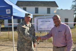 Pictured are Fort Hunter Liggett Commander Lt. Col. Michael B. Bailey and Monterey County District 3 Supervisor Simon Salinas after the ceremonial deed signing.