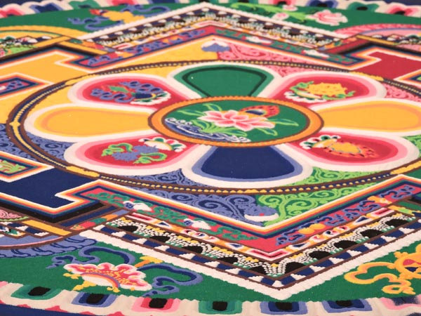 The sand mandala, taken just before the closing ceremony. Photo by Skye Ravy.