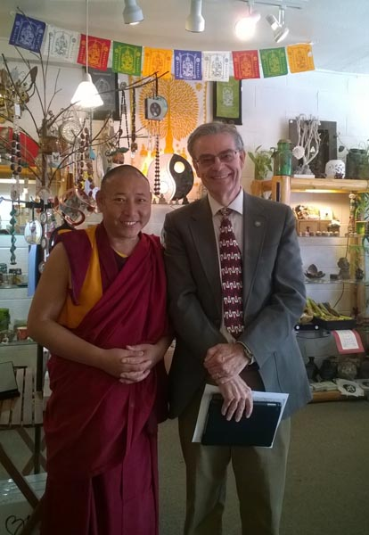 Mayor Steve Martin poses with one of the Visiting Monks. Photo Courtesy of Steve Martin.