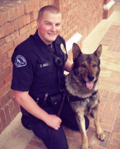 Officer Chris Hall and his canine, Atza. Courtesy of Atascadero Police Department.
