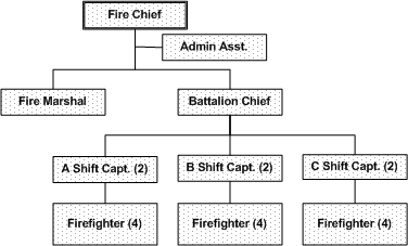 An organizational chart of  emergency services.